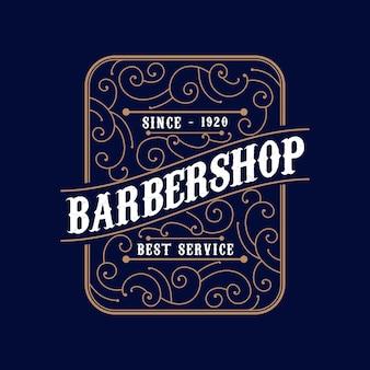 Logotipo caligráfico vitoriano de luxo retrô antigo com moldura ornamental para cabeleireiro de barbearia