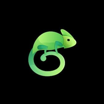 Logotipo camaleão gradiente colorido moderno