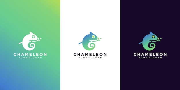 Logotipo camaleão gradiente moderno