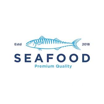 Logotipo cavala silhueta frutos do mar