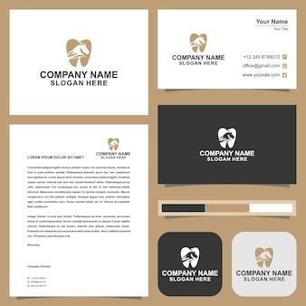 Logotipo cavalo comunidade dentária e cartão de visita