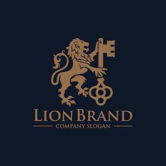 Logotipo chave leão design luxo vetor estoque