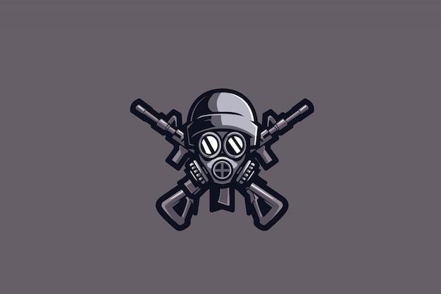 Logotipo cinzento dos esportes do soldado e