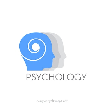 Logotipo cinzento psicologia azul e