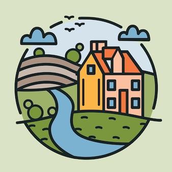 Logotipo circular com casa de fazenda, colinas cobertas por campos cultivados e rio desenhado em estilo