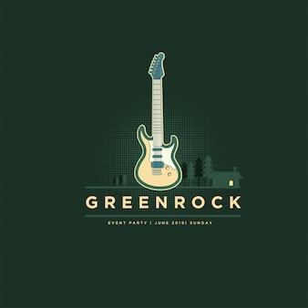 Logotipo clássico da guitarra da rocha do verde do vintage