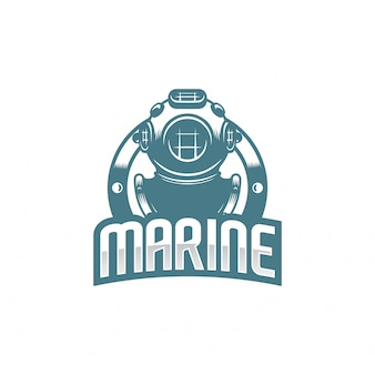 Logotipo clássico de capacete de mergulho