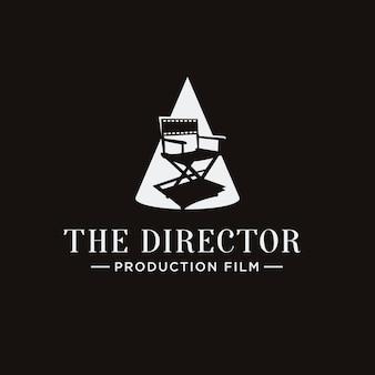 Logotipo clássico do diretor de cinema de cadeira de destaque