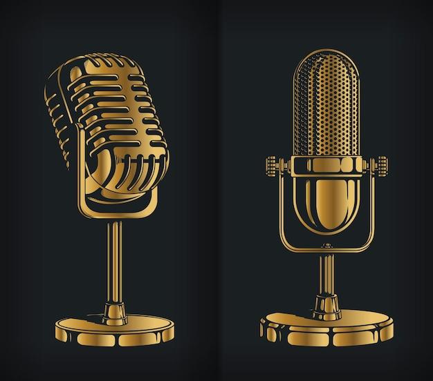 Logotipo clássico do microfone retrô de ouro da silhueta