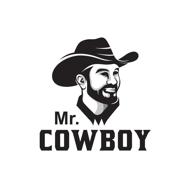 Logotipo clássico retro vintage da ilustração vetorial de personagem de caubói bandido