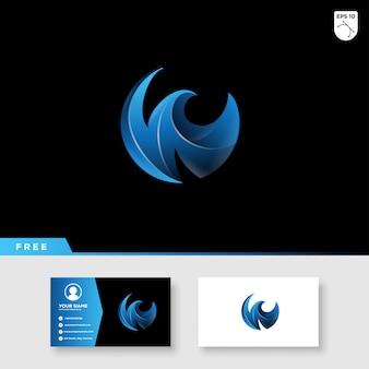 Logotipo colorido abstrato da letra de w no molde da cor e do cartão do inclinação