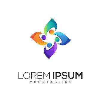 Logotipo colorido abstrato da vida