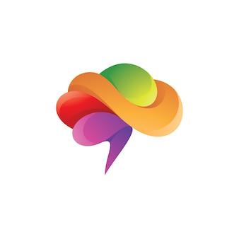 Logotipo colorido abstrato do cérebro