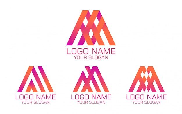 Logotipo colorido abstrato em quatro versões