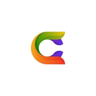 Logotipo colorido abstrato letra c