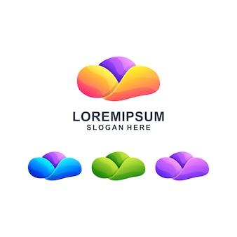 Logotipo colorido abstrato nuvem