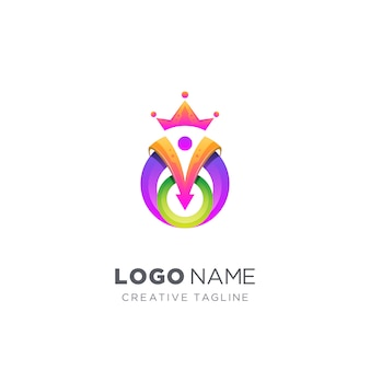 Logotipo colorido abstrato rei