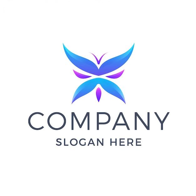Logotipo colorido borboleta gradiente