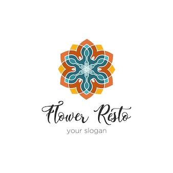 Logotipo colorido caleidoscópico do restaurante da flor