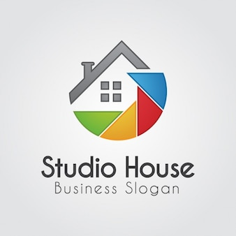 Logotipo colorido com a casa abstrato