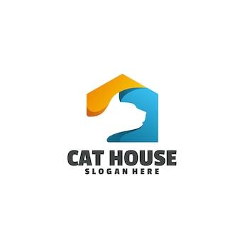 Logotipo colorido da casa do gato