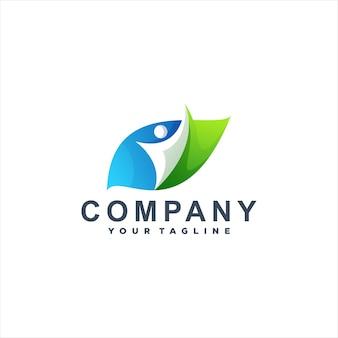 Logotipo colorido da leaf people