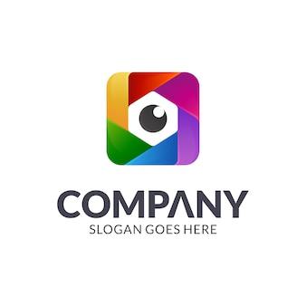 Logotipo colorido da lente da câmera
