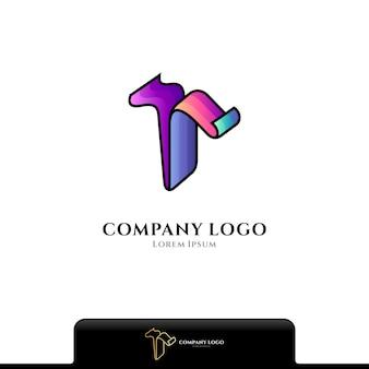 Logotipo colorido da letra t isolado no branco