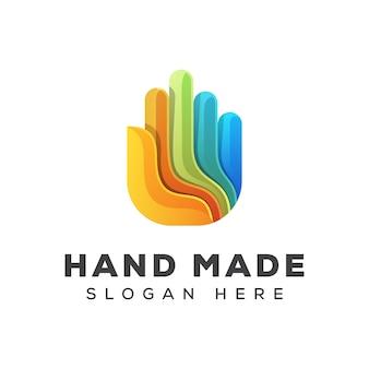 Logotipo colorido da mão, logotipo impressionante feito à mão, design de logotipo de cuidado de mão