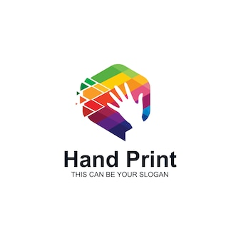 Logotipo colorido da mão