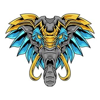 Logotipo colorido da mascote da ilustração do elefante