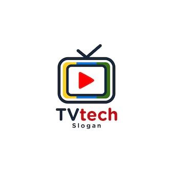 Logotipo colorido da mídia de tv moderna