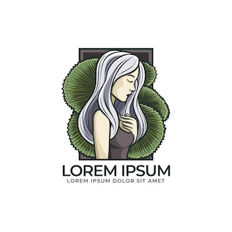 Logotipo colorido da mulher e folha de palmeira
