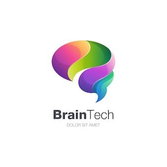 Logotipo colorido da tecnologia do cérebro