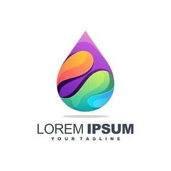 Logotipo colorido de água