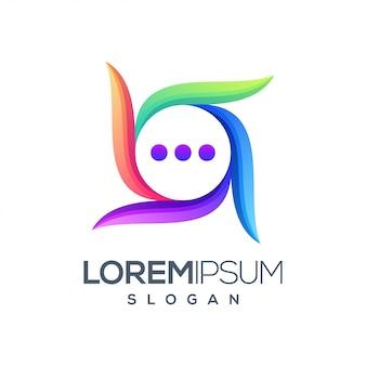 Logotipo colorido de bate-papo de ícone
