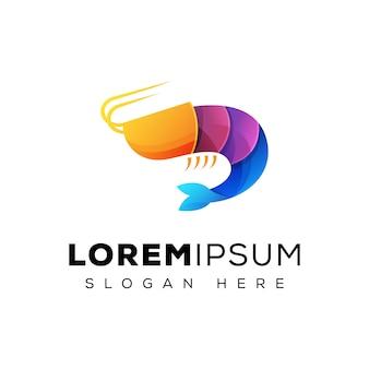 Logotipo colorido de camarão