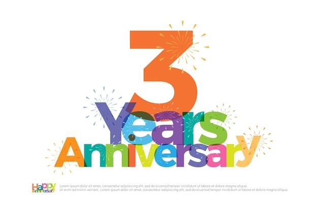 Logotipo colorido de celebração de aniversário de 3 anos com fogos de artifício