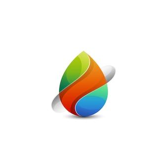 Logotipo colorido de gota d'água