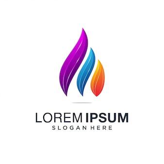 Logotipo colorido de gota de água