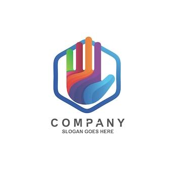 Logotipo colorido de mão em vetor