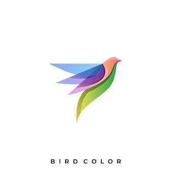 Logotipo colorido de pássaro voador