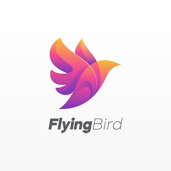Logotipo colorido de pássaro voando