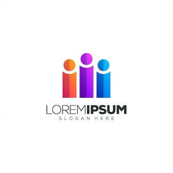 Logotipo colorido de pessoas