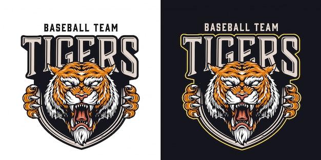 Logotipo colorido de time de beisebol vintage