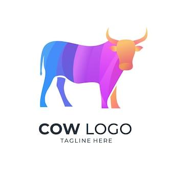 Logotipo colorido de vaca