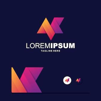 Logotipo colorido digital da letra m