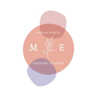Logotipo colorido do casamento desenhado à mão