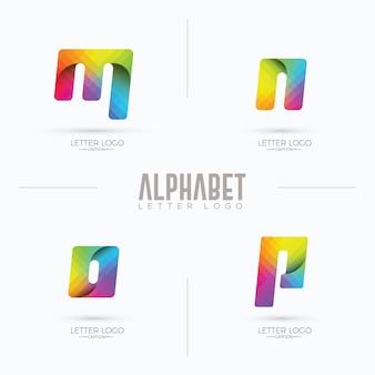 Logotipo colorido do estilo origami curvilíneo da marca mnop gradiente