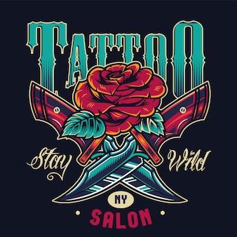 Logotipo colorido do estúdio de tatuagem vintage